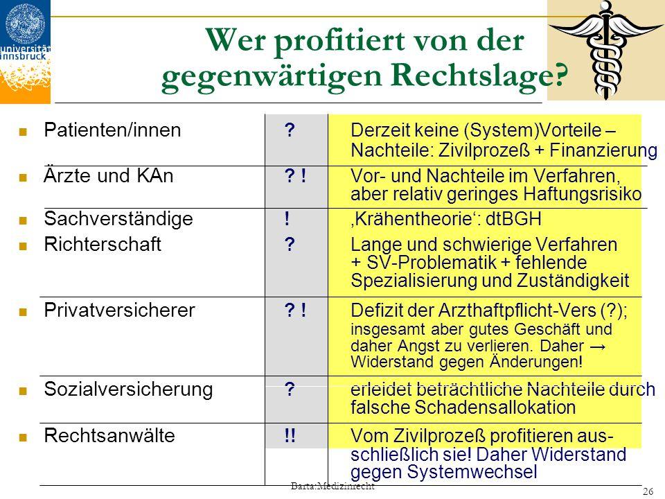Barta:Medizinrecht 26 Wer profitiert von der gegenwärtigen Rechtslage? Patienten/innen ?Derzeit keine (System)Vorteile – Nachteile: Zivilprozeß + Fina