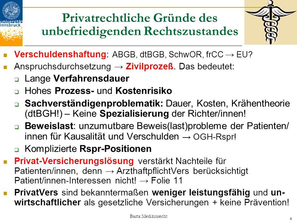 Barta:Medizinrecht 4 Privatrechtliche Gründe des unbefriedigenden Rechtszustandes Verschuldenshaftung: ABGB, dtBGB, SchwOR, frCC → EU? Anspruchsdurchs
