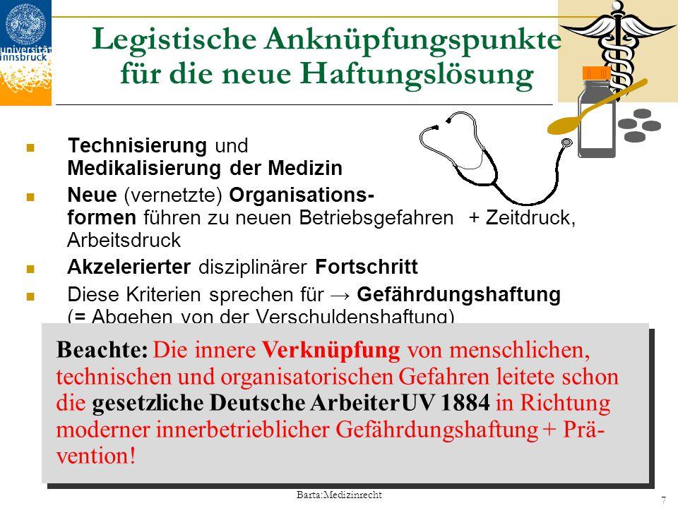 Barta:Medizinrecht 7 Legistische Anknüpfungspunkte für die neue Haftungslösung Technisierung und Medikalisierung der Medizin Neue (vernetzte) Organisa