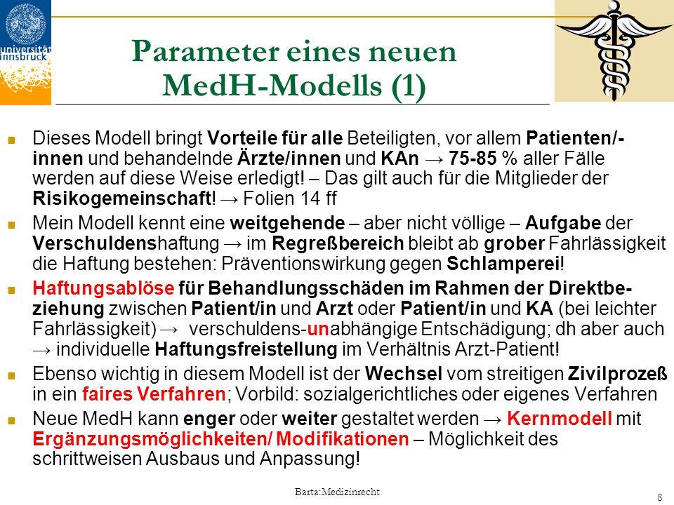 Barta:Medizinrecht 9 Parameter eines neuen MedH-Modells (2) MedH-Modell trägt Arzt-Patient-Beziehung voll Rechnung → die Patienten/innen und Ärzte/ KAn sind in das Versicherungsmodell einbezogen.