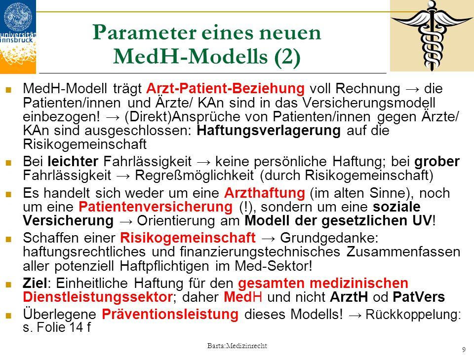 Barta:Medizinrecht 9 Parameter eines neuen MedH-Modells (2) MedH-Modell trägt Arzt-Patient-Beziehung voll Rechnung → die Patienten/innen und Ärzte/ KA