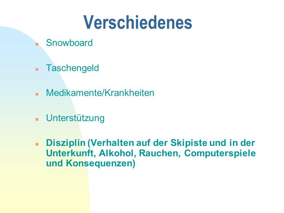 Verschiedenes n Snowboard n Taschengeld n Medikamente/Krankheiten n Unterstützung n Disziplin (Verhalten auf der Skipiste und in der Unterkunft, Alkoh