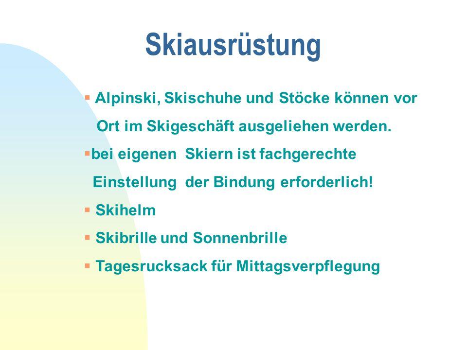 Skiausrüstung  Alpinski, Skischuhe und Stöcke können vor Ort im Skigeschäft ausgeliehen werden.  bei eigenen Skiern ist fachgerechte Einstellung der