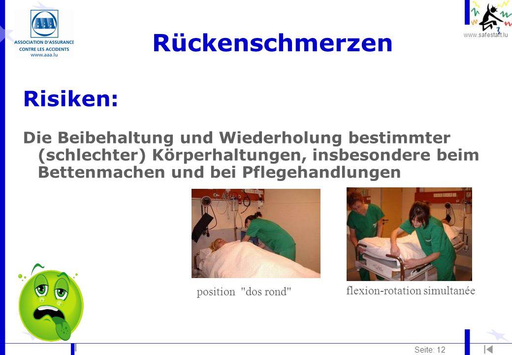 www.safestart.lu Seite: 12 Rückenschmerzen Risiken: Die Beibehaltung und Wiederholung bestimmter (schlechter) Körperhaltungen, insbesondere beim Bette