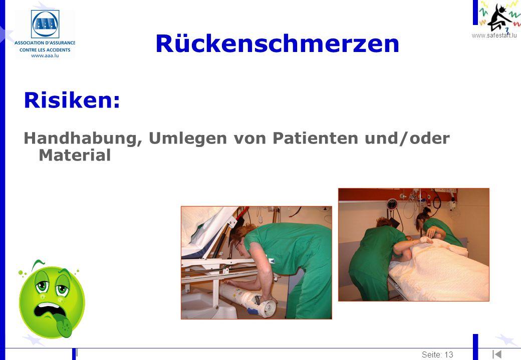 www.safestart.lu Seite: 13 Rückenschmerzen Risiken: Handhabung, Umlegen von Patienten und/oder Material