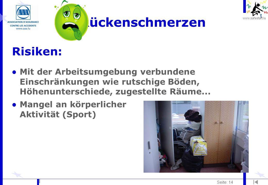 www.safestart.lu Seite: 14 Rückenschmerzen Risiken: l Mit der Arbeitsumgebung verbundene Einschränkungen wie rutschige Böden, Höhenunterschiede, zuges