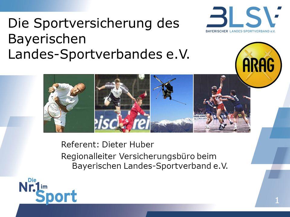 1 Die Sportversicherung des Bayerischen Landes-Sportverbandes e.V. Referent: Dieter Huber Regionalleiter Versicherungsbüro beim Bayerischen Landes-Spo