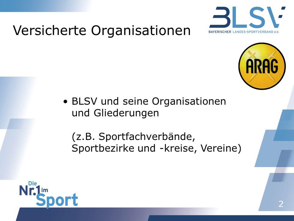 2 Versicherte Organisationen BLSV und seine Organisationen und Gliederungen (z.B. Sportfachverbände, Sportbezirke und -kreise, Vereine)