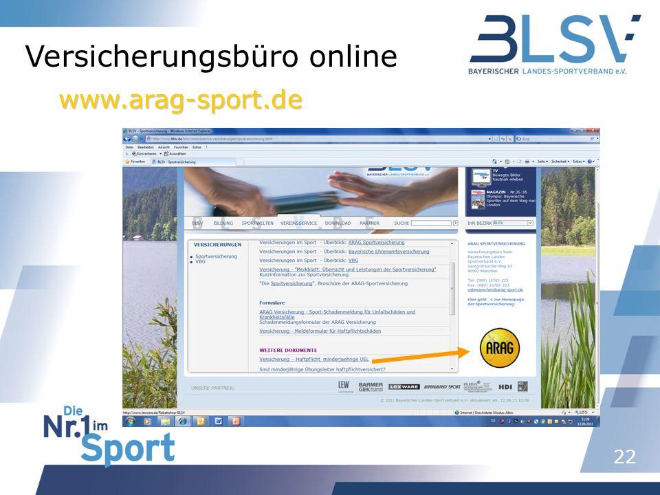 22 Versicherungsbüro online www.arag-sport.de