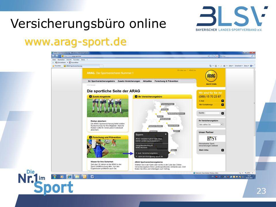 23 Versicherungsbüro online www.arag-sport.de