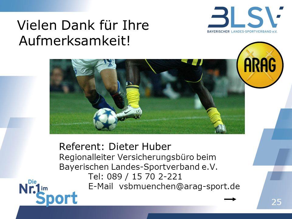 25 Vielen Dank für Ihre Aufmerksamkeit! Referent: Dieter Huber Regionalleiter Versicherungsbüro beim Bayerischen Landes-Sportverband e.V. Tel: 089 / 1