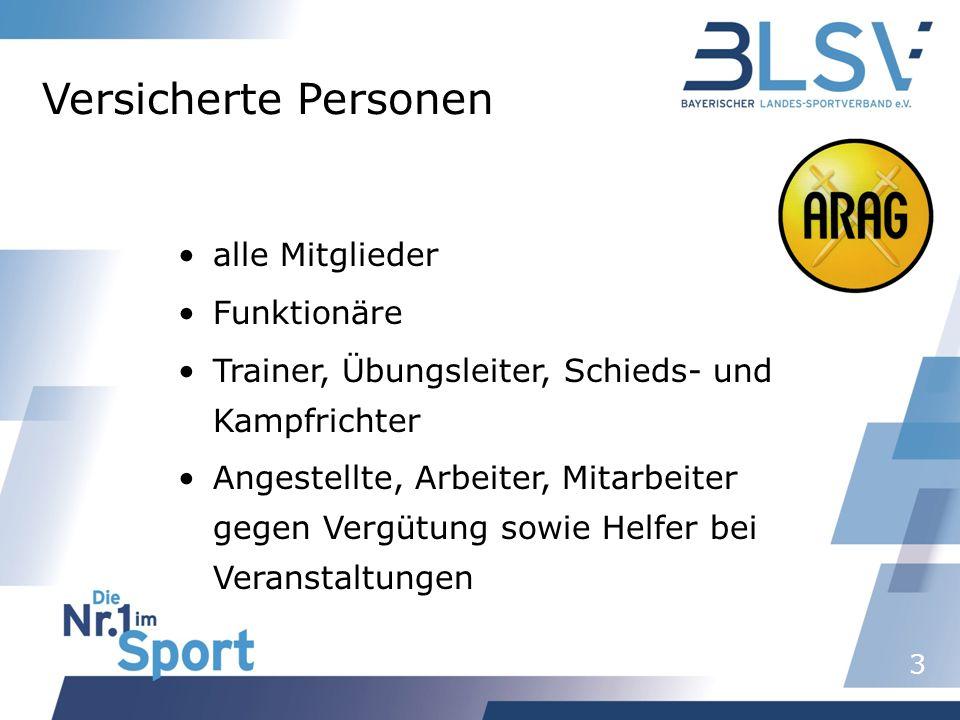 3 Versicherte Personen alle Mitglieder Funktionäre Trainer, Übungsleiter, Schieds- und Kampfrichter Angestellte, Arbeiter, Mitarbeiter gegen Vergütung