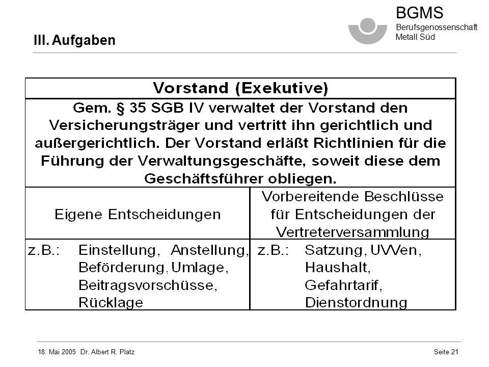 18. Mai 2005 Dr. Albert R. Platz BGMS Berufsgenossenschaft Metall Süd Seite 21 III. Aufgaben
