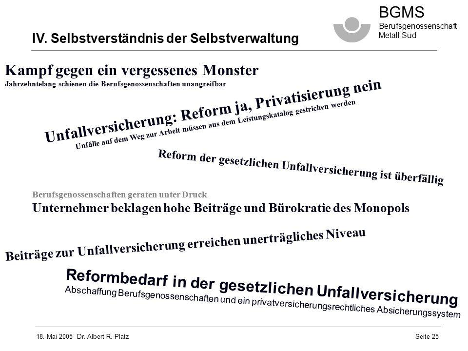 18. Mai 2005 Dr. Albert R. Platz BGMS Berufsgenossenschaft Metall Süd Seite 25 Unfallversicherung: Reform ja, Privatisierung nein Unfälle auf dem Weg