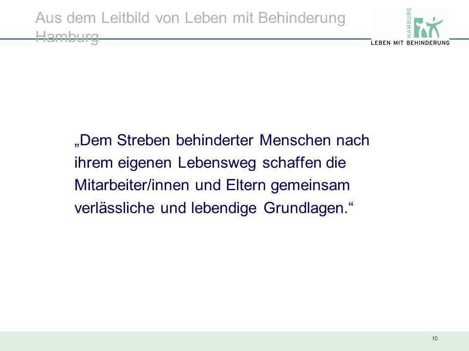 """10 Aus dem Leitbild von Leben mit Behinderung Hamburg """"Dem Streben behinderter Menschen nach ihrem eigenen Lebensweg schaffen die Mitarbeiter/innen un"""