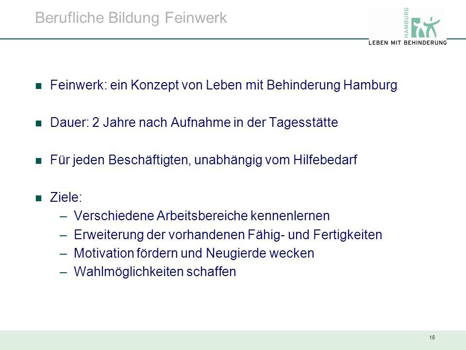 16 Berufliche Bildung Feinwerk Feinwerk: ein Konzept von Leben mit Behinderung Hamburg Dauer: 2 Jahre nach Aufnahme in der Tagesstätte Für jeden Besch
