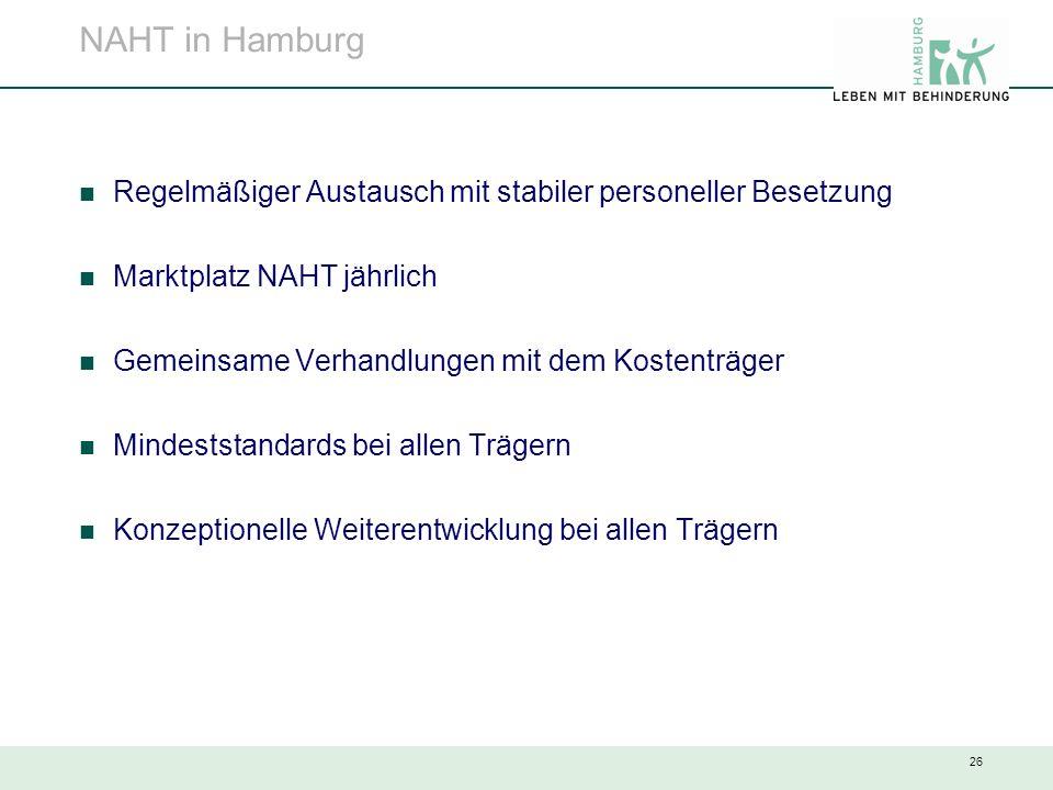 26 NAHT in Hamburg Regelmäßiger Austausch mit stabiler personeller Besetzung Marktplatz NAHT jährlich Gemeinsame Verhandlungen mit dem Kostenträger Mi