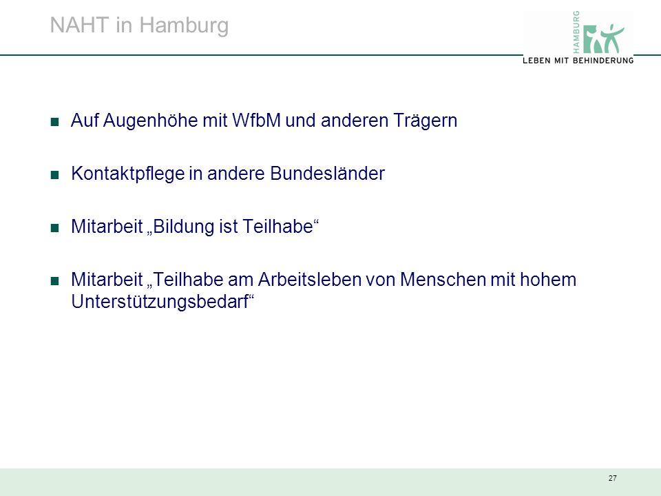 """27 NAHT in Hamburg Auf Augenhöhe mit WfbM und anderen Trägern Kontaktpflege in andere Bundesländer Mitarbeit """"Bildung ist Teilhabe"""" Mitarbeit """"Teilhab"""