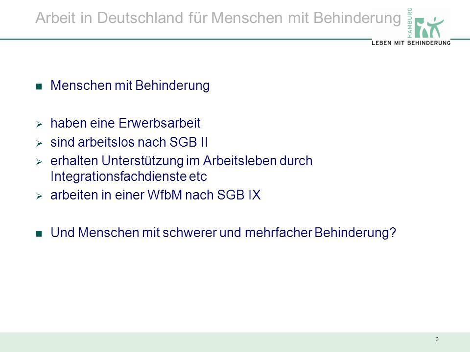 3 Arbeit in Deutschland für Menschen mit Behinderung Menschen mit Behinderung  haben eine Erwerbsarbeit  sind arbeitslos nach SGB II  erhalten Unte