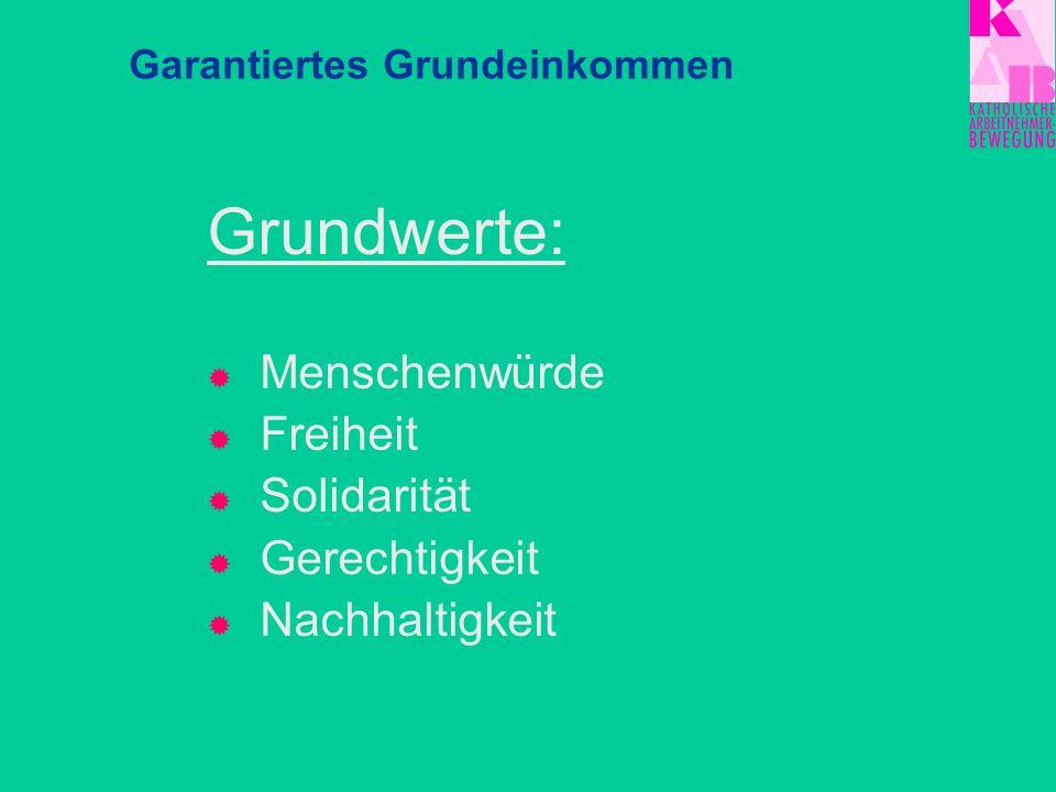 Grundwerte:  Menschenwürde  Freiheit  Solidarität  Gerechtigkeit  Nachhaltigkeit Garantiertes Grundeinkommen