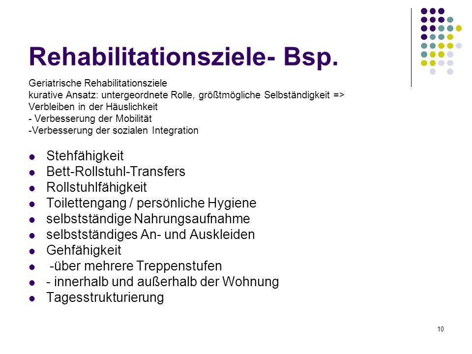 10 Rehabilitationsziele- Bsp. Geriatrische Rehabilitationsziele kurative Ansatz: untergeordnete Rolle, größtmögliche Selbständigkeit => Verbleiben in