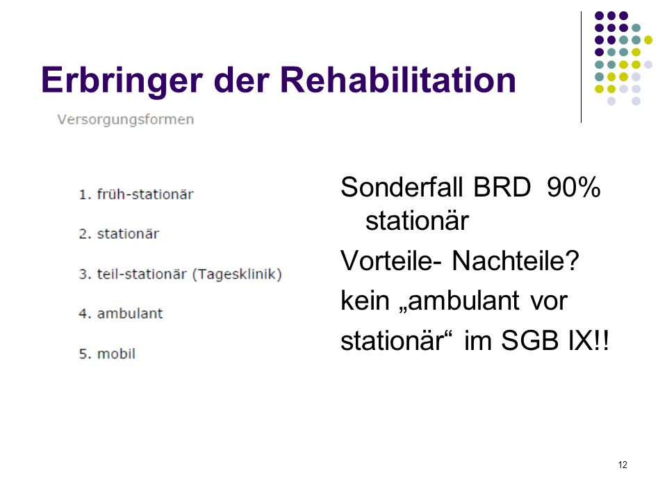 "12 Erbringer der Rehabilitation Sonderfall BRD 90% stationär Vorteile- Nachteile? kein ""ambulant vor stationär"" im SGB IX!!"