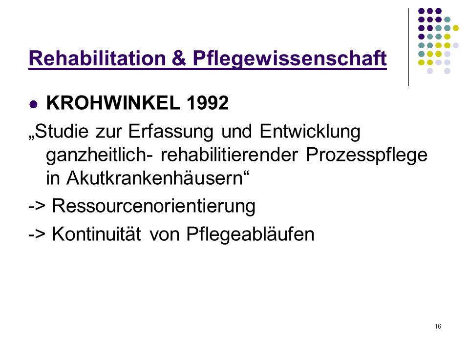 """16 Rehabilitation & Pflegewissenschaft KROHWINKEL 1992 """"Studie zur Erfassung und Entwicklung ganzheitlich- rehabilitierender Prozesspflege in Akutkran"""