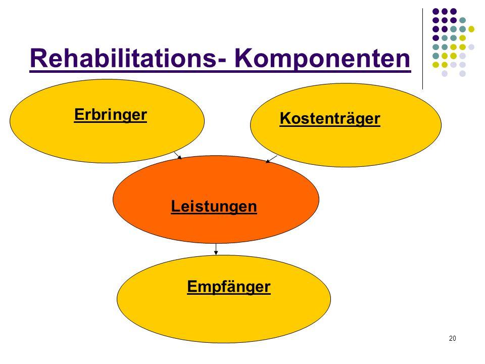 20 Rehabilitations- Komponenten Erbringer Kostenträger Leistungen Empfänger