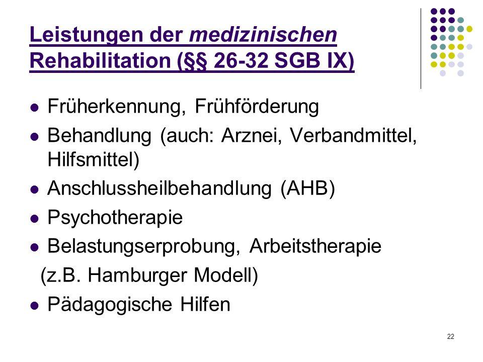 22 Leistungen der medizinischen Rehabilitation (§§ 26-32 SGB IX) Früherkennung, Frühförderung Behandlung (auch: Arznei, Verbandmittel, Hilfsmittel) An