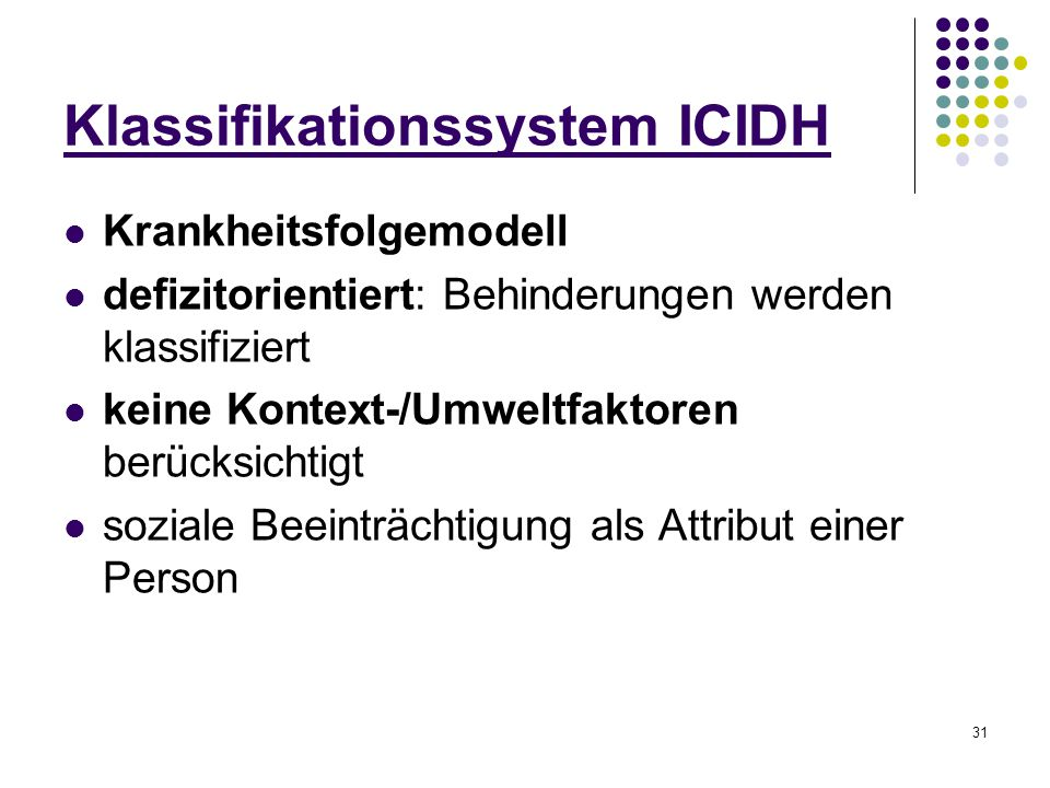 31 Klassifikationssystem ICIDH Krankheitsfolgemodell defizitorientiert: Behinderungen werden klassifiziert keine Kontext-/Umweltfaktoren berücksichtig