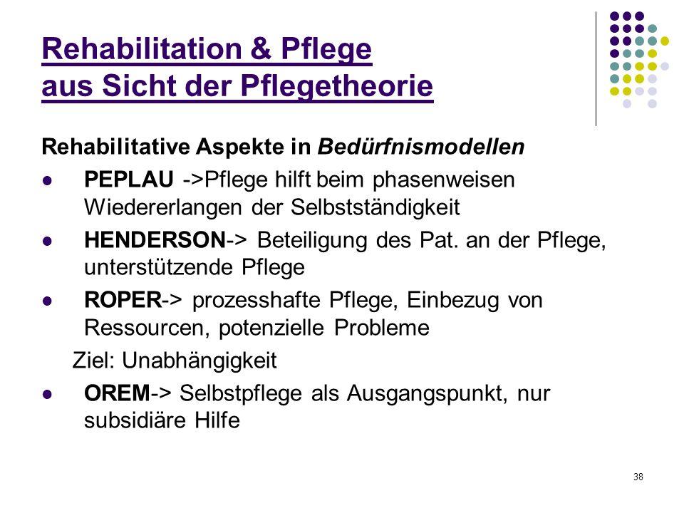 38 Rehabilitation & Pflege aus Sicht der Pflegetheorie Rehabilitative Aspekte in Bedürfnismodellen PEPLAU ->Pflege hilft beim phasenweisen Wiedererlan