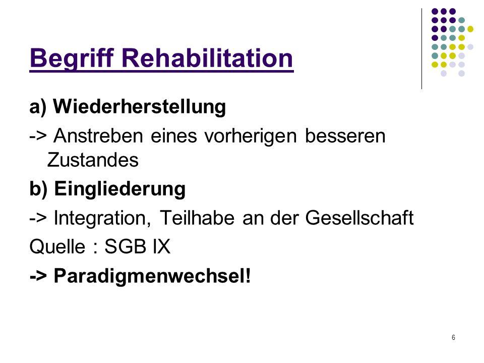 6 Begriff Rehabilitation a) Wiederherstellung -> Anstreben eines vorherigen besseren Zustandes b) Eingliederung -> Integration, Teilhabe an der Gesell