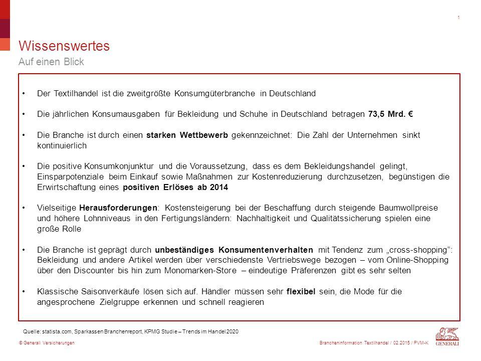 © Generali Versicherungen Wissenswertes Auf einen Blick 1 Der Textilhandel ist die zweitgrößte Konsumgüterbranche in Deutschland Die jährlichen Konsumausgaben für Bekleidung und Schuhe in Deutschland betragen 73,5 Mrd.