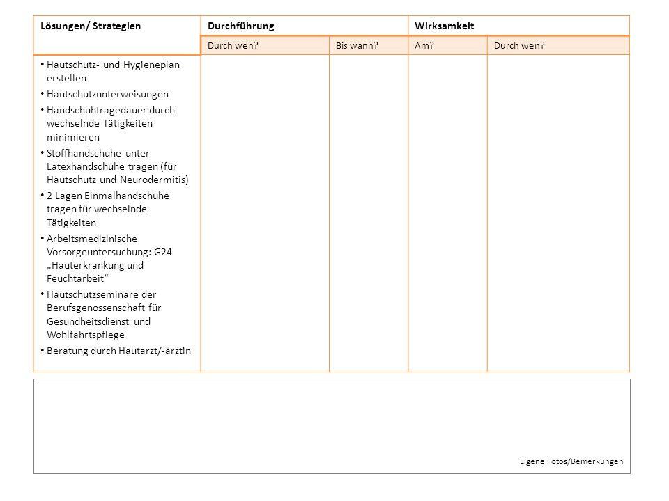 Lösungen/ StrategienDurchführungWirksamkeit Durch wen?Bis wann?Am?Durch wen? Hautschutz- und Hygieneplan erstellen Hautschutzunterweisungen Handschuht
