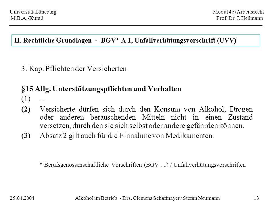 Universität Lüneburg Modul 4e) Arbeitsrecht M.B.A.-Kurs 3 Prof. Dr. J. Heilmann 13Alkohol im Betrieb - Drs. Clemens Schafmayer / Stefan Neumann25.04.2