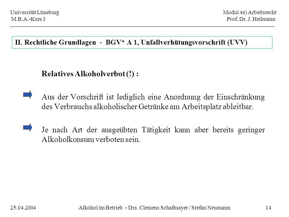 Universität Lüneburg Modul 4e) Arbeitsrecht M.B.A.-Kurs 3 Prof. Dr. J. Heilmann 14Alkohol im Betrieb - Drs. Clemens Schafmayer / Stefan Neumann25.04.2