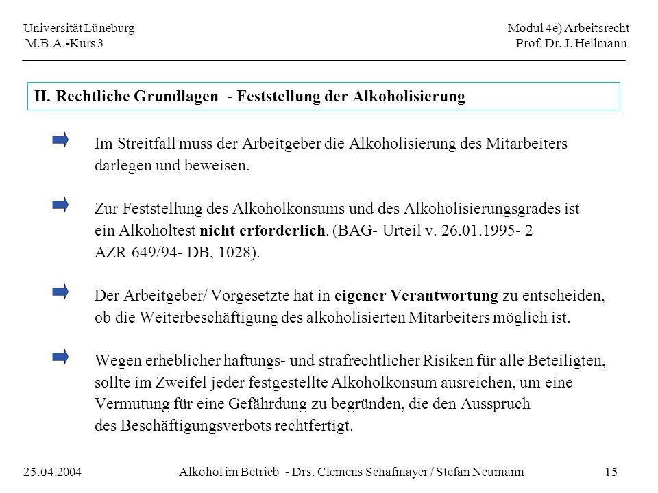 Universität Lüneburg Modul 4e) Arbeitsrecht M.B.A.-Kurs 3 Prof. Dr. J. Heilmann 15Alkohol im Betrieb - Drs. Clemens Schafmayer / Stefan Neumann25.04.2