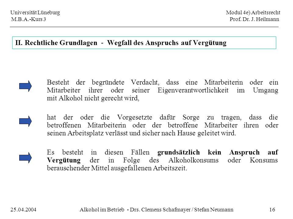Universität Lüneburg Modul 4e) Arbeitsrecht M.B.A.-Kurs 3 Prof. Dr. J. Heilmann 16Alkohol im Betrieb - Drs. Clemens Schafmayer / Stefan Neumann25.04.2