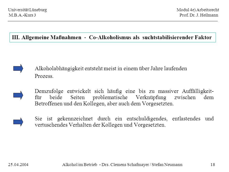 Universität Lüneburg Modul 4e) Arbeitsrecht M.B.A.-Kurs 3 Prof. Dr. J. Heilmann 18Alkohol im Betrieb - Drs. Clemens Schafmayer / Stefan Neumann25.04.2