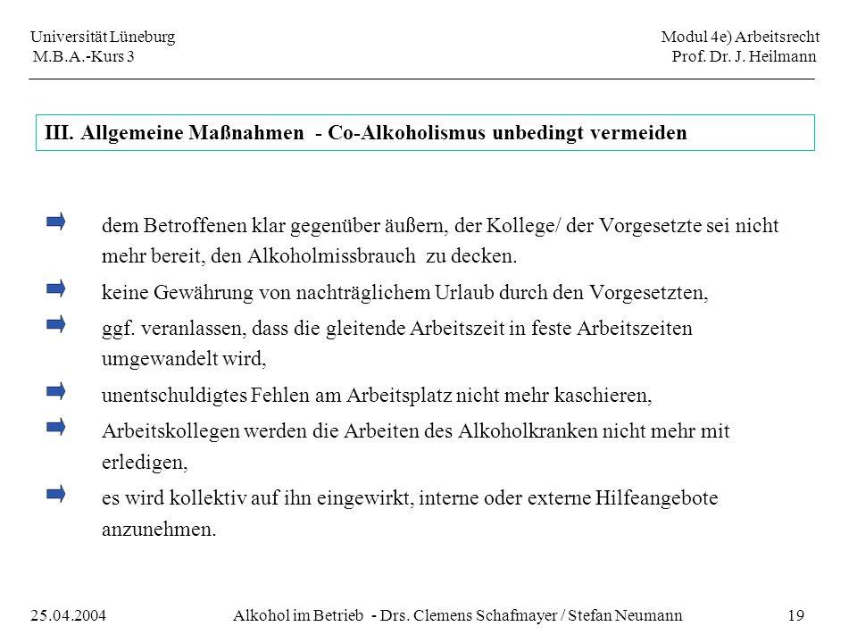 Universität Lüneburg Modul 4e) Arbeitsrecht M.B.A.-Kurs 3 Prof. Dr. J. Heilmann 19Alkohol im Betrieb - Drs. Clemens Schafmayer / Stefan Neumann25.04.2