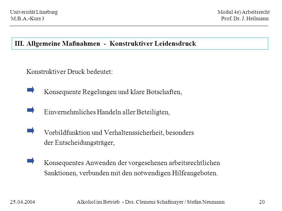 Universität Lüneburg Modul 4e) Arbeitsrecht M.B.A.-Kurs 3 Prof. Dr. J. Heilmann 20Alkohol im Betrieb - Drs. Clemens Schafmayer / Stefan Neumann25.04.2