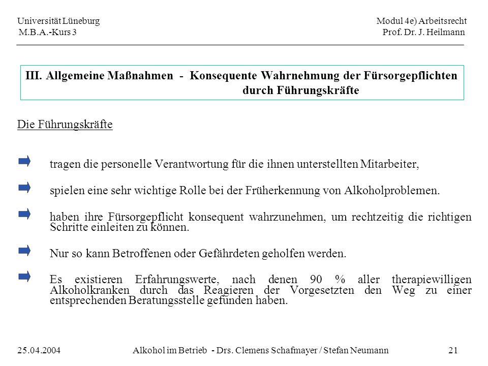 Universität Lüneburg Modul 4e) Arbeitsrecht M.B.A.-Kurs 3 Prof. Dr. J. Heilmann 21Alkohol im Betrieb - Drs. Clemens Schafmayer / Stefan Neumann25.04.2