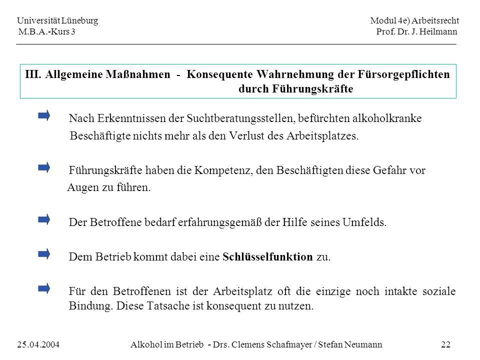 Universität Lüneburg Modul 4e) Arbeitsrecht M.B.A.-Kurs 3 Prof. Dr. J. Heilmann 22Alkohol im Betrieb - Drs. Clemens Schafmayer / Stefan Neumann25.04.2