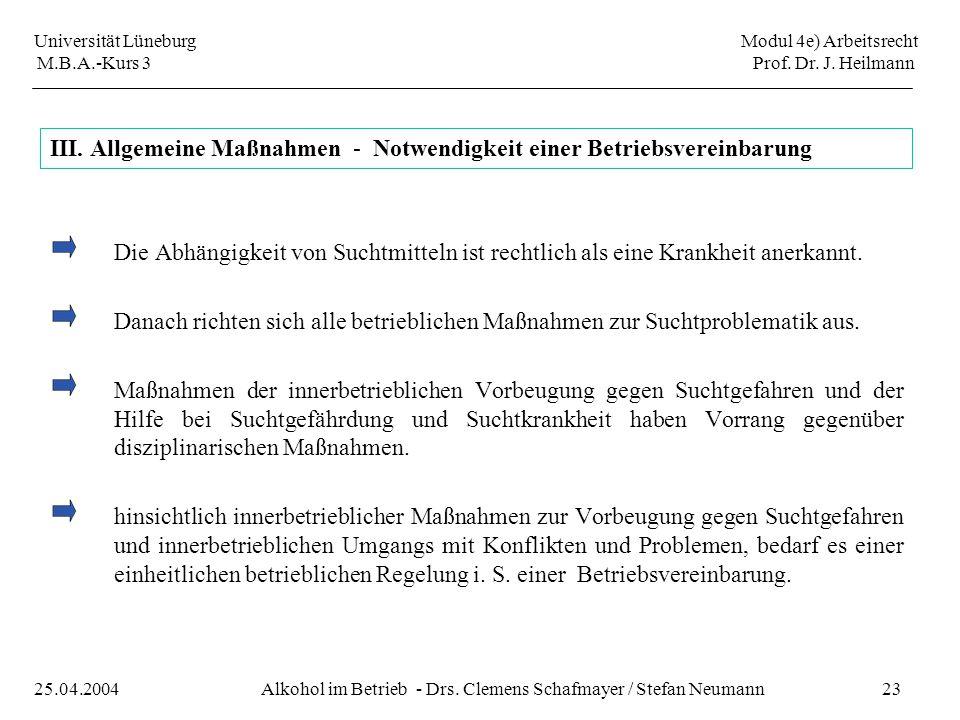 Universität Lüneburg Modul 4e) Arbeitsrecht M.B.A.-Kurs 3 Prof. Dr. J. Heilmann 23Alkohol im Betrieb - Drs. Clemens Schafmayer / Stefan Neumann25.04.2