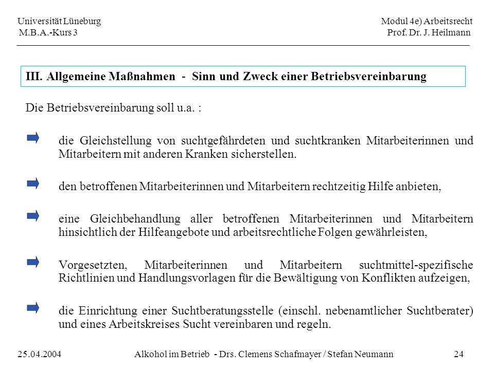 Universität Lüneburg Modul 4e) Arbeitsrecht M.B.A.-Kurs 3 Prof. Dr. J. Heilmann 24Alkohol im Betrieb - Drs. Clemens Schafmayer / Stefan Neumann25.04.2