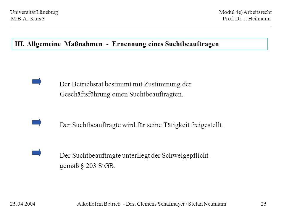Universität Lüneburg Modul 4e) Arbeitsrecht M.B.A.-Kurs 3 Prof. Dr. J. Heilmann 25Alkohol im Betrieb - Drs. Clemens Schafmayer / Stefan Neumann25.04.2