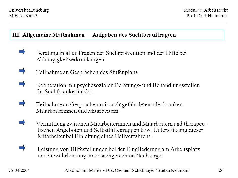 Universität Lüneburg Modul 4e) Arbeitsrecht M.B.A.-Kurs 3 Prof. Dr. J. Heilmann 26Alkohol im Betrieb - Drs. Clemens Schafmayer / Stefan Neumann25.04.2
