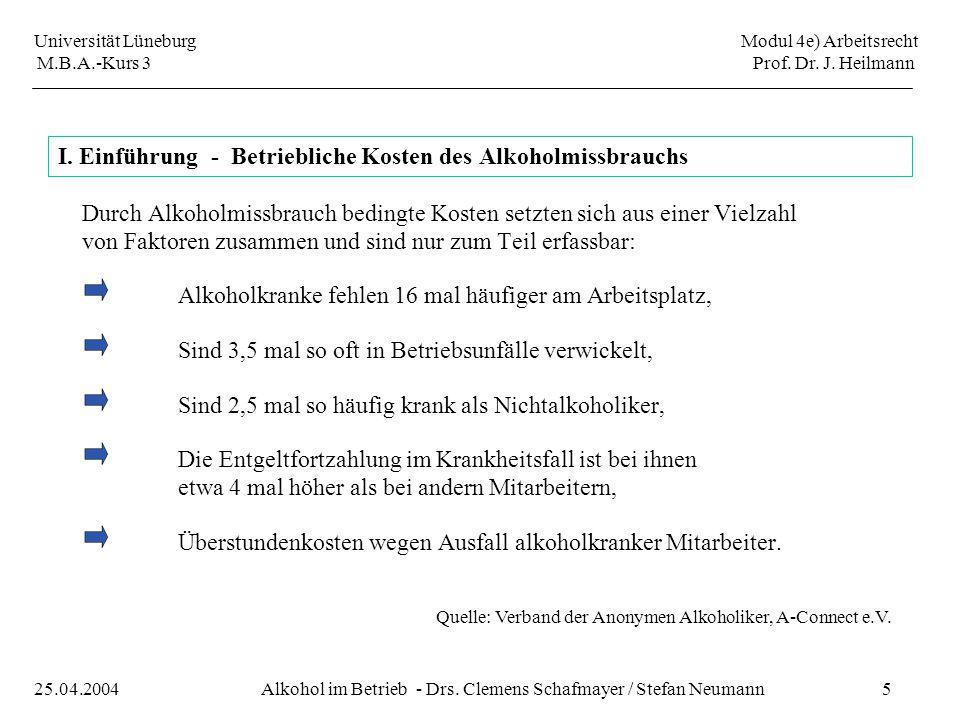 Universität Lüneburg Modul 4e) Arbeitsrecht M.B.A.-Kurs 3 Prof. Dr. J. Heilmann 5Alkohol im Betrieb - Drs. Clemens Schafmayer / Stefan Neumann25.04.20