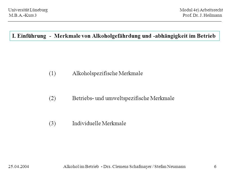 Universität Lüneburg Modul 4e) Arbeitsrecht M.B.A.-Kurs 3 Prof. Dr. J. Heilmann 6Alkohol im Betrieb - Drs. Clemens Schafmayer / Stefan Neumann25.04.20