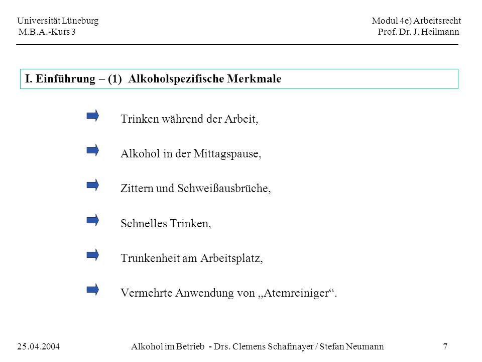 Universität Lüneburg Modul 4e) Arbeitsrecht M.B.A.-Kurs 3 Prof. Dr. J. Heilmann 7Alkohol im Betrieb - Drs. Clemens Schafmayer / Stefan Neumann25.04.20